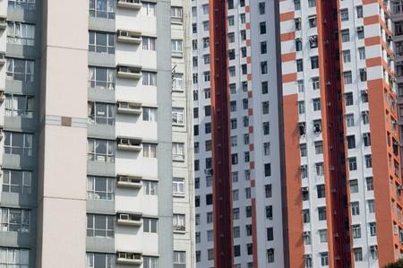 Hongkong - Asian city, modern, tall residential buildings near Aberdeen harbour.