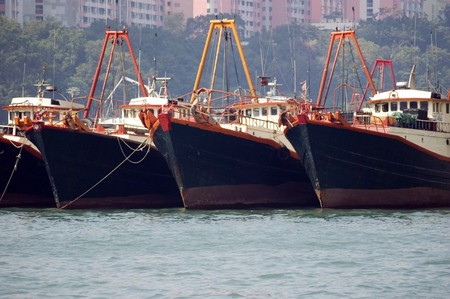 medium size: Medium size vessels waiting in Hongkong, Aberdeen harbour. Ships holding for departure.