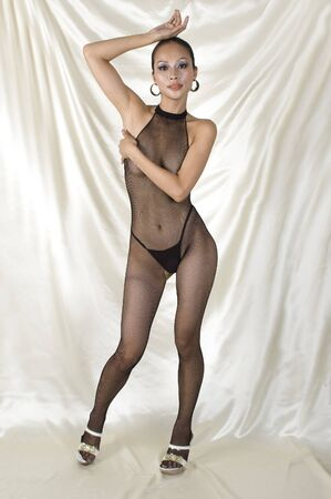Sexy chica de Asia en Body, sesi�n de fotos er�ticas con chica muy guapa, buena forma, la expresi�n de la cara amable. Cubrirse suavemente desnudez. Foto de archivo - 4360619