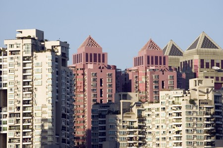 futian: Shenzhen city, China, group of new residential buildings in Futian district. Stock Photo