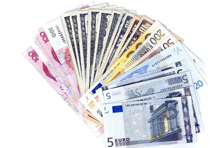 RMB, dollars and euro - banknotes in shape of fan. Photo of different banknotes, money in different shapes and colors. Useful for financial, economic backgrounds. Stock Photo