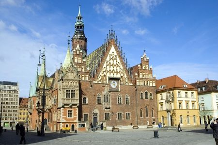 Poland, Wroclaw city with its landmark - Town Hall in traditional style.