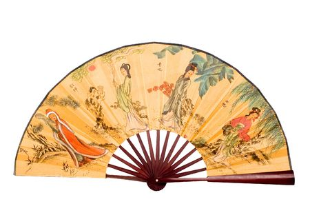 Traditional Chinese fan, colorful fan, typical in Asian countries. Object with clean background.  版權商用圖片