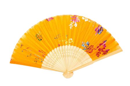 Traditional Chinese fan, colorful fan, typical in Asian countries. Object with clean background.  Stock Photo