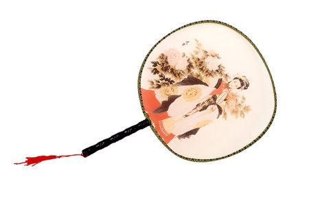Traditional Chinese fan, colorful fan, typical in Asian countries. Object with clean background.  Reklamní fotografie