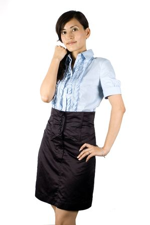 Chinese office lady, elegant clerk. Young Asian girl with kind face expression. photo