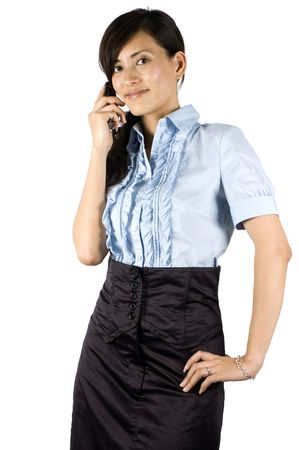 Chinese office lady, elegant clerk. Young Asian girl with kind face expression. Girl holding mobile phone, talking on phone. photo