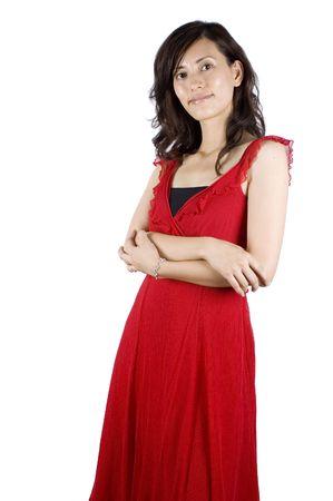 Pretty Chinese girl, female Asian model wearing red skirt, elegant night dress.