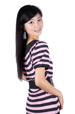 Moda, chica bastante asi�tica. Young China modelo, tipo, amable, feliz, positivo. Foto de archivo - 5318039