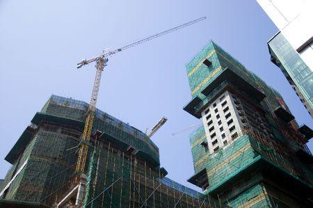 futian: China, Shenzhen city, modern business metropolis. Futian district - new office buildings under construction.