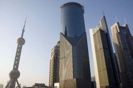 Shanghai, city center, modern district Pudong with skyscrapers, office buildings and Orient Pearl TV tower. photo