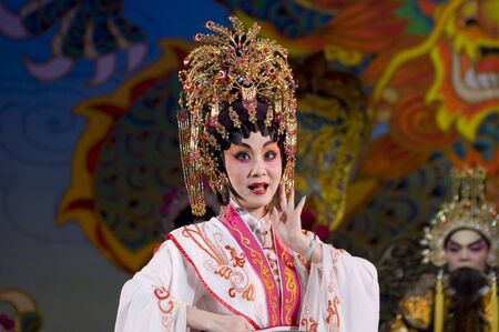 CHINA, SHENZHEN, GUANGDONG PROVINCE - FEBRUARY 13, 2009: Traditional Beijing Opera, performed by professional Chinese actors and actress for Chinese New Year celebration.