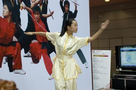CHINA, GUANGDONG, SHENZHEN - MAY 16, 2009: China International Cultural Industries Fair, students of Shenzhen Polytechnic presents kung-fu.