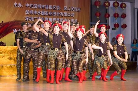 communistic: CHINA, SHENZHEN - el 28 de septiembre: 60 � aniversario del establecimiento de China, la celebraci�n del d�a nacional, el 28 de septiembre de 2009 en Shenzhen, China. Editorial