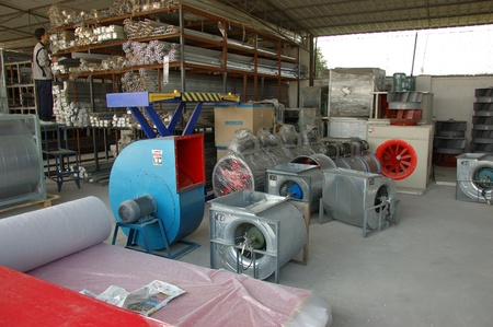 CANTON, CHINA - NOVEMBER 11: One of the biggest manufacturer of auto spray booths and generators in China. Car industry became very important element of Chinese economy growth. Factory tour on November 11, 2010.