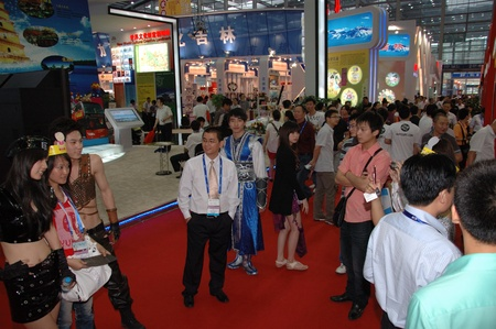 showman: CHINA, SHENZHEN - MAY 14: visitors during The 6th International Cultural Industries Fair on May 14, 2010 in Shenzhen.