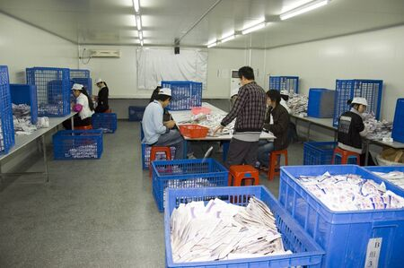 CHINA, SHENZHEN - DECEMBER 18: pregnancy test production in China, factory tour on December 18, 2009 in Shenzhen. Stock Photo - 9338258