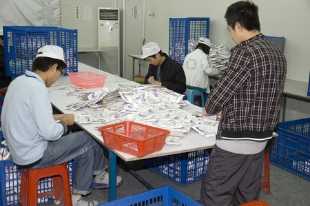 CHINA, SHENZHEN - DECEMBER 18: pregnancy test production in China, factory tour on December 18, 2009 in Shenzhen.