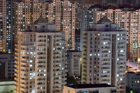 overpopulated: CHINA, SHENZHEN - MAY 1: overpopulated city by night, thousands of residential houses, cityscape on MAY 1, 2010 in Shenzhen.