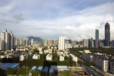 hing: SHENZHEN, CHINA - SEPTEMBER 14: Luohu district with two highest skyscrapers in Shenzhen on September 14, 2010. Shun Hing Square, named also as DiWang - 384 meters and Kingkey Finance Tower � 441 meters, still under construction.