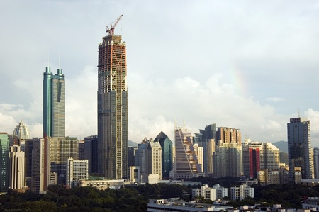SHENZHEN, CHINA - SEPTEMBER 14: Two, highest skyscrapers in Shenzhen on September 14, 2010. Shun Hing Square, named also as DiWang - 384 meters and Kingkey Finance Tower � 441 meters, still under construction. Stock Photo - 9350451