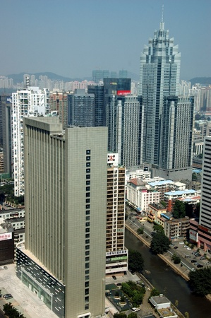 SHENZHEN, CHINA - OCTOBER 31: General cityscape of Luohu district, Shenzhen on October 31, 2010. This year is 30th anniversary for Shenzhen special economic zone. Stock Photo - 9350503