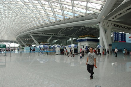 GUANGZHOU, CHINA - SEPTEMBER 29: Guangzhou South Railway Station for high-speed trains on September 29, 2010. Station operates 32 trains daily, has 28 platforms, serves 200000 passengers per day. Stock Photo - 9350487