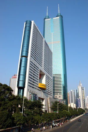 SHENZHEN, CHINA - OCTOBER 31: Modern skyscrapers in Luohu district, Shenzhen on October 31, 2010. This year is 30th anniversary for Shenzhen special economic zone. Stock Photo - 9350483