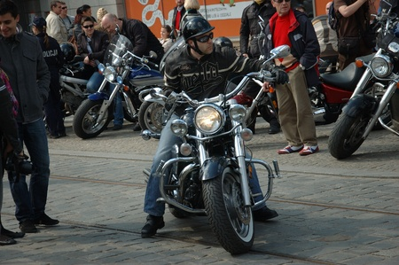 WROCLAW, POLAND - April 16: Motorcycle parade and season opening in Poland. Riders gather to enjoy new season and collect blood for children in hospitals on April 16, 2011. Editorial