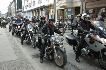 WROCLAW, POLAND - April 16: Motorcycle parade and season opening in Poland. Riders gather to enjoy new season and collect blood for children in hospitals. Motors in parade on April 16, 2011.