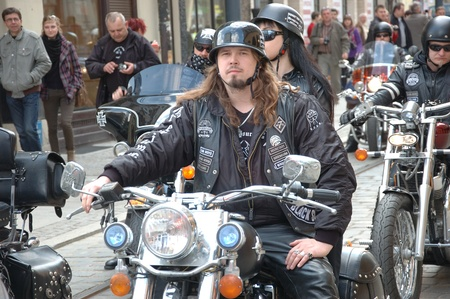 WROCLAW, POLAND - April 16: Motorcycle parade and season opening in Poland. Riders gather to enjoy new season and collect blood for children in hospitals on April 16, 2011. Redakční