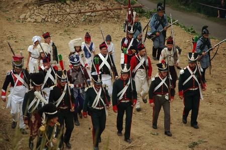 SREBRNA GORA, POLAND - JUNE 11: 1807 Napoleon's forces battle reconstruction, siege of the Srebrna Gora fortress. Soldiers setup positions on June 11, 2011. Stock Photo - 10321711