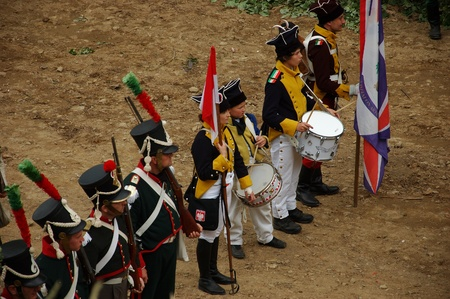 SREBRNA GORA, POLAND - JUNE 11: 1807 Napoleon's forces battle reconstruction, siege of the Srebrna Gora fortress. Drummer prepares for siege on June 11, 2011. Stock Photo - 10321715