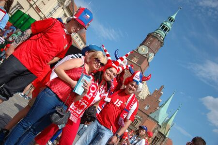 WROCLAW, POLAND - JUNE 8: UEFA Euro 2012, fanzone in Wroclaw. Czech and Polish group together on June 8, 2012.