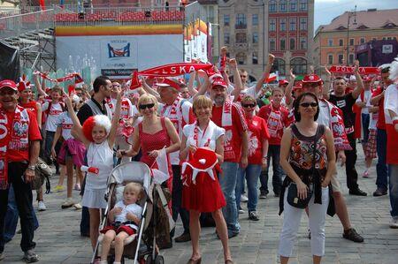 WROCLAW, POLAND - JUNE 8: UEFA Euro 2012, fanzone in Wroclaw. Football fans gather in fanzone on June 8, 2012.