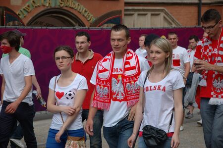 WROCLAW, POLAND - JUNE 8: UEFA Euro 2012, fanzone in Wroclaw. Polish fans go for first game on June 8, 2012.