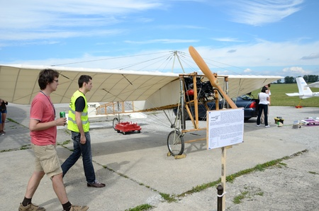 manche: SZYMANOW, POLAND - AUGUST 25: copy of wooden plane Bleriot XI - the first plane which flied over La Manche canal. Replica presented on August 25, 2012 in Szymanow.