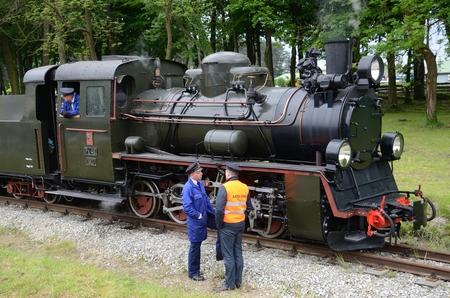 narrow gauge railroad: KROSNICE, DOLNY SLASK, POLAND - MAY 25: Restored narrow gauge railroad in Krosnice. Railwaymen prepare for the first run on 25 May 2013 in Krosnice, Poland.
