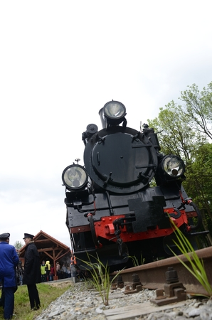 narrow gauge railroad: KROSNICE, DOLNY SLASK, POLAND - MAY 25: Restored narrow gauge railroad in Krosnice. Front of old locomotive before the first trip on 25 May 2013 in Krosnice, Poland. Editorial