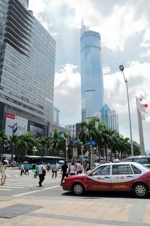 futian: SHENZHEN, CHINA - SEPTEMBER 6, 2012: Famous Hua Qiang Road in Futian District. SEG building - biggest electronic market in Shenzhen, China.
