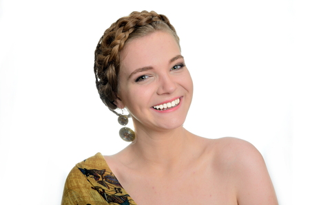 polish girl: Pretty Polish model with big smile. Female with yellow scarf and earrings.