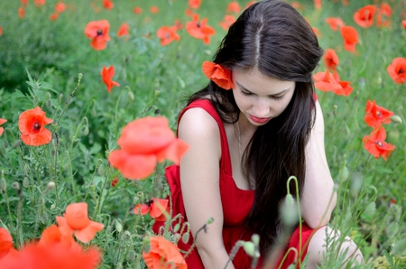 shy girl: Portrait of shy girl. Female model with red dress surrounded by poppies. Model not facing the camera, head down.