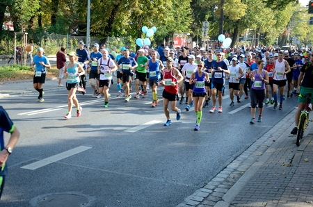 challange: WROCLAW, POLAND - SEPTEMBER 13: Over  five thousands runners from different countries gathered for PKO Marathon Wroclaw 2015 on 13th September 2015  in Wroclaw, Poland.