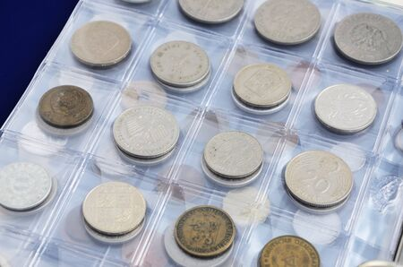 numismatics: Collection of different coins, old coins from all around Europe, money collection. Stock Photo