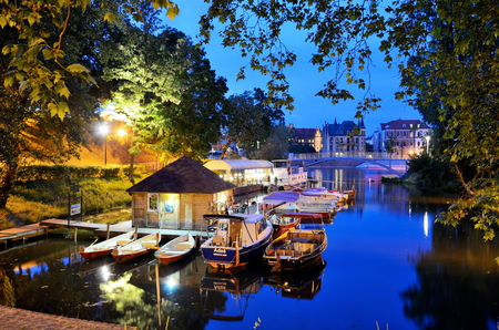 european culture: WROCLAW, POLAND - MAY 30: Gondola Bay by night at Odra river. In 2016 Wroclaw is European Capitol of Culture. Editorial
