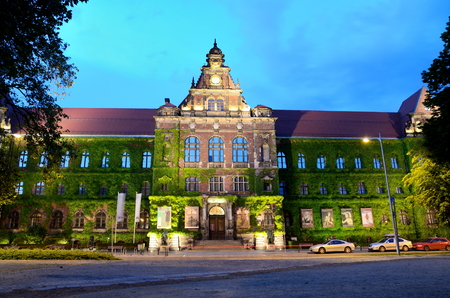european culture: WROCLAW, POLAND - MAY 30: Wroclaws National Museum, historical building  by night. In 2016 Wroclaw is European Capitol of Culture.