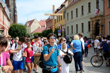 WROCLAW, POLAND - JULY 23: Unidentified group of pilgrims join Days In Dioceses to prepare just before The World Youth Day in Cracow. Pilgrims with Italian flag on July 23rd 2016 in Wroclaw.