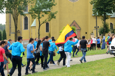 columbian: TRZEBNICA, POLAND - JULY 25: World Youth Day, Columbian pilgrims going to St. Jadwiga Sanctuary on 25th July 2016 in Trzebnica.