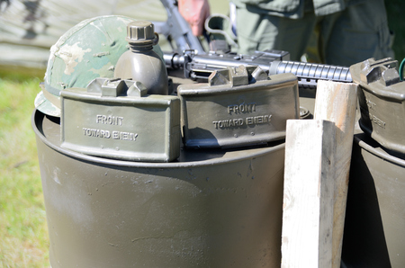 WROCLAW, POLAND - JUNE 3: Reconstruction groups rally. Militarians fan gathering, people in uniforms, historical vehicles and weapons. Weapon, mines, helmet and equipment from Vietnam War on June 3rd 2017 in Wroclaw.