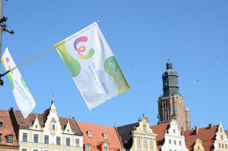 WROCLAW, POLAND - JULY 18: The World Games flags and banners, Wroclaw city just two days before Opening Ceremony on18th July 2017 in Wroclaw. Éditoriale